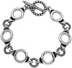 Twisted Blade 925 Sterling Silver Plain & Engraved Circle Links Bracelet Toggle