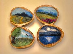 Needle Felted Landscape in a Walnut Shell Needle Felted Art