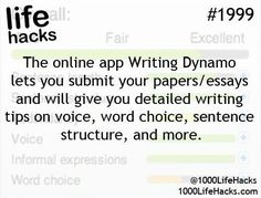 Ideas About DIY Life Hacks & Crafts 2017 / 2018 The online app Writting Dynamo lets you submit your papers/essays and will give you detailed writing tips on voice, word choice, sentence structure and more. -Read More – School Life Hacks, College Life Hacks, School Study Tips, School Tips, College Tips, School Essay, Life Hacks For Students, College Planner, Student Life