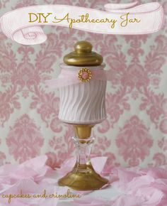 DIY - Hazlo tu mismo - Make your own apothecary jar from a dollar store candlestick and jar ~ add some paint, glue and trim and you're done! Mason Jar Crafts, Bottle Crafts, Mason Jars, Bottle Art, Dollar Store Crafts, Dollar Stores, Bedroom Organization Diy, Organizing Life, Bottles And Jars