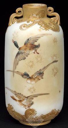 Mt Washington Glass; Crown Milano, Vase, Ducks in Flight, Handled, 11 inch.