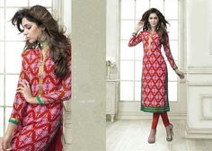 "Designer Wear Printed Georgette Kurti with American Crepe lining in Red and Purple color. Length: 45"" and Size: L, XL."