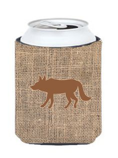 Wolf Burlap and Brown Can or Bottle Beverage Insulator Hugger