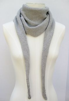 Cotton Linen Karius scarf grey hand knitted by SimpleKnitShop