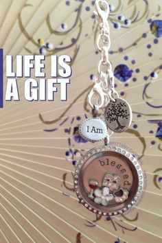 "Origami Owl ~ Life is a Gift ""I Am"" dangle, Tree of life dangle, blessed plate, wine charm, white flower charm http://suemeissner.origamiowl.com/"