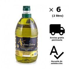 """Caja de 6 botellas tipo PET  natural de 2 litros. Tienda de productos gourmet online. Aceite de Oliva Virgen Extra selección """"Gourmet"""" , variedad arbequina y picual de cosecha porpia."""