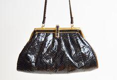 Vintage 90s Black Snakeskin PURSE / 1990s Convertible Leather Shoulder Bag or Clutch
