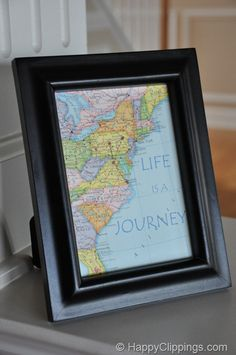 DIY: Personalized Map Art – Life is a Journey (could use for family history or vacation memories)