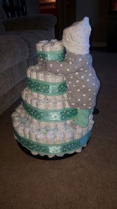 Baby climbing diaper cake