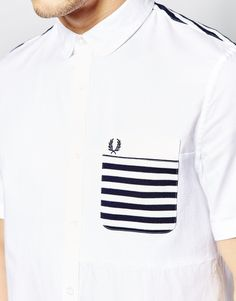 Image 3 of Fred Perry Shirt with Stripe Pocket Short Sleeves