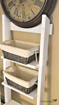 Ladder Shelving... repurposing a ladder with rungs. www.homeroad.net