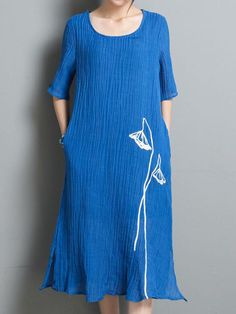Casual Print Loose Split Half Sleeve O-neck Dress For Women