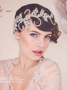Bridal statement Headpiece Tiara. Wear it and instantly set the tone for a 1920s style wedding. Crystals flow out in vines