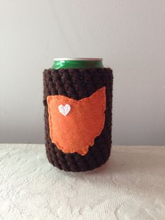 Bowling Green State University, Bowling Green Falcons   Bowling Green, Ohio Crochet Beer Coozie in Brown, Coffee Cup Cozy, Bottle Coozie by Maroozi on Etsy