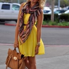 yellow dress and scarf