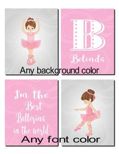 Ballerina Wall Art ballerina decor,purple pink wall art, kids, girl room decor, girl