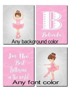 Ballerina Wall Art ballerina decor,purple pink wall art, kids, girl room decor, girl