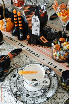 'Witch' Way To The Treats Halloween Tablescape | ©homeiswheretheboatis.net #tablescapes #Halloween #witch
