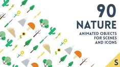 90 Animated Nature Elements by Smytt Nature themed animated flat items for icons, scenes and backgrounds. Trees, plants, flowers, rocks for summer, winter, day or nig