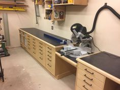 Various Tools Used For Woodworking - Woodworking Finest - Miter saw station sized for Festool Kapex - Woodworking Shop Layout, Woodworking Workshop, Woodworking Jigs, Woodworking Projects, Festool Kapex, Festool Tools, Shop Cabinets, Garage Cabinets, Workshop Storage