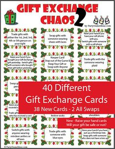 Christmas Gift Exchange Chaos - Printable Game Gift Exchange Chaos - Fun gift exchange game that has you swapping gifts based on 40 different printable Gift Exchange Chaos cards. Christmas party game for holiday parties. Outdoor Christmas Tree Decorations, Christmas Signs Wood, Diy Christmas Tree, Christmas Ideas, Christmas Holidays, Homemade Christmas, Grinch Christmas, Christmas 2017, Christmas Traditions