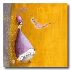 CARTES D'ART > BOISSONNARD Gaëlle > CARTES SIMPLES 14x14cm > BOISSONNARD Le chapeau aux fleurs - e-mages - La carterie d art