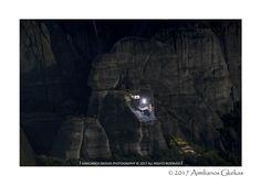 Meteora monastery at night - null