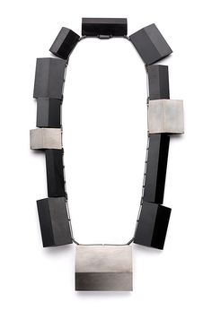 By Babette von Dohnanyi Necklace: Syntesis, 2013 Ag 925, fossil carbon jet, steal wire