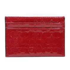 Coach Embossed Liquid Gloss Card Case Red #62544