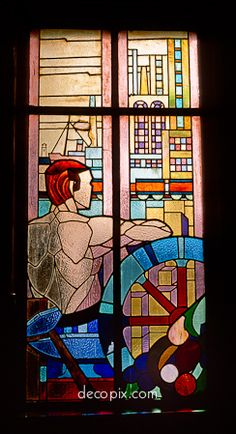 Decopix - The Art Deco Architecture Site - Art Deco Glass Gallery.  Window.  Peace Hotel, Shanghai.