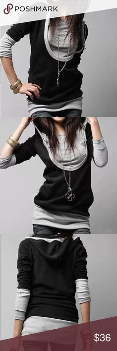 """Hoody two tone shirt Material: cotton. Measurement size S- bust 34, length 26"""", size M-bust 35"""", length 27"""". Highly stretchable. NWOT Tops"""