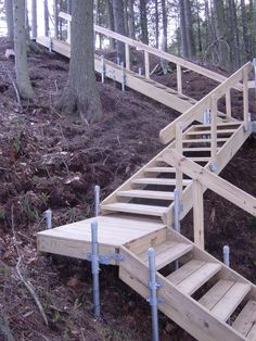 Your Stairs may be up a long hill from your waterfront or over a steep banking leading through the woods. Some accessories available with our stairs are ha