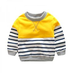 Yellow size 6-7 long-sleeve tee featuring color block stripes pattern.