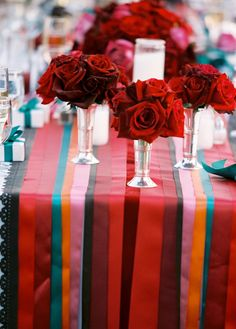 DIY ribbon table runner- teak the colors to fit the wedding and BAM! You have perfection!