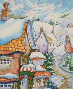 Alida Akers' Storybook Cottage Series - The Road into Wintertown Storybook Homes, Storybook Cottage, Cute Cottage, Cottage Art, Winter Art, Winter Holiday, Christmas Time Is Here, Xmas, Applique Quilts