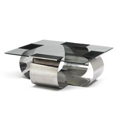 François Monnet COFFEE TABLE stainless steel and glass 12 3/8 x 34 1/8 x 34 1/8 in. (31.4 x 86.7 x 86.7 cm) ca. 1970 manufactured by Kappa, France