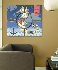 Blue Seahorse Wall Art Set by Amazing Wallart #zulily #zulilyfinds