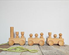KIDS toys wooden train vintage wood toy railway by PICCOLINAVIGLI, $26.00