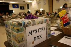 Fun and Creative Fundraising Ideas Mystery Box Auction Fundraising Idea. A mystery box at the CVLHS silent auction attracted plenty of attention.And And or AND may refer to: Fundraiser Baskets, Raffle Baskets, Gift Baskets, Theme Baskets, Mystery Box, Chinese Auction, Auction Projects, Auction Ideas, Auction Fundraiser Ideas