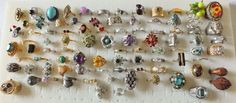 VTG.88 PIECE RINGS-COCKTAIL CLUSTER SOLITAIRE AUSTRIA SARAH COV JUDY LEE COSTUME