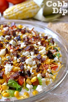 Cobb Dip - SO delicious with tortilla chips! Recipe via @ctrochelman #dip #cobb #appetizer