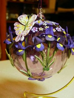 Iris & Butterfly Decorated Ornament on Stand