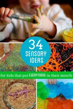 Sensory play ideas for kids (especially babies and toddlers) that put everything in their mouth still. Grab most of these sensory materials from the pantry!