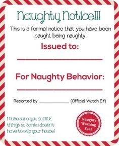 Naughty list warning notice from santa free printable pinterest this is the time of the year that many parents tend to play the santa is watching card when kids act up or happen to do something wonderful spiritdancerdesigns Image collections