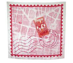 Hermes Red De Passage A Paris Silk Carre 90cm Scarf