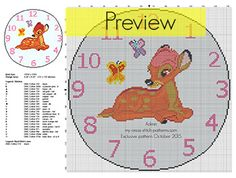 Clock with Disney Bambi - Exclusive Pattern October 2015