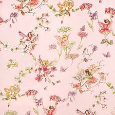 Flower Fairies Pink Fabric