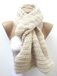 Hand made knitted infinity scarf Block Infinity Scarf,Neck Warmer.LONG scarf,vanilla Crochet Infinity,valentines day