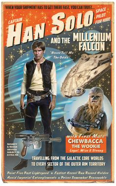"Han Solo Poster.    I would sooooo love this as a "" vintage "" poster somewhere in the new house. Party room? Play room / game too ?"