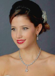 Glamorous Cubic Zirconia Pendant Wedding Jewelry Set - Affordable Elegance Bridal -